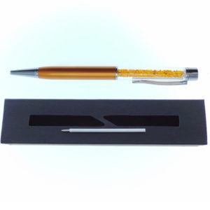 Penna arancione a Sfera con cristalli tipo Swarovski con custodia e ricarica - Crystal Stones