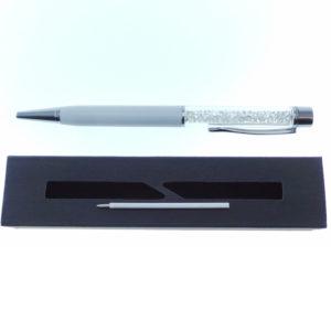 Penna bianca a Sfera con cristalli tipo Swarovski con custodia e ricarica - Crystal Stones