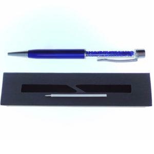 Penna blu a Sfera con cristalli tipo Swarovski con custodia e ricarica - Crystal Stones