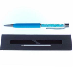 Penna celeste a Sfera con cristalli tipo Swarovski con custodia e ricarica - Crystal Stones