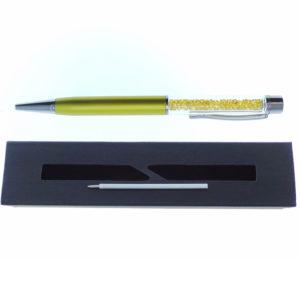 Penna gialla a Sfera con cristalli tipo Swarovski con custodia e ricarica - Crystal Stones