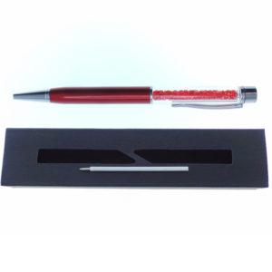 Penna rossa a Sfera con cristalli tipo Swarovski con custodia e ricarica - Crystal Stones