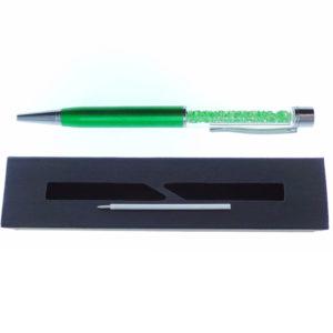 Penna verde a Sfera con cristalli tipo Swarovski con custodia e ricarica - Crystal Stones