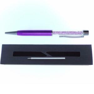 Penna viola a Sfera con cristalli tipo Swarovski con custodia e ricarica - Crystal Stones
