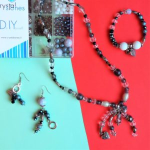 Black & White - Kit DIY 526 Pezzi + 1 Pinza + 5,05mt filo - Kit Do It Yourself - Crystal Stones