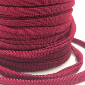 Cordoncino elastico Bordeaux in fibra e gomma 5 mm - Venduto a metro - Crystal Stones