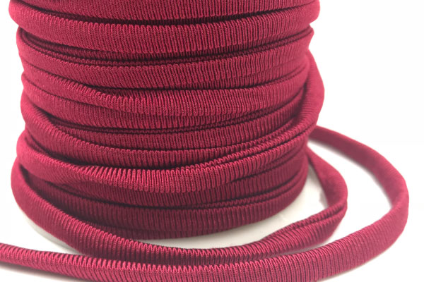 Cordoncino elastico Bordeaux in fibra e gomma 5 mm – Venduto a metro – Crystal Stones
