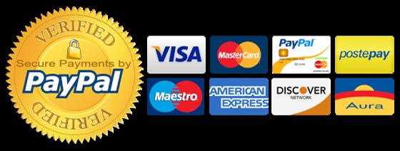Paga con carta di credito o di debito via PayPal