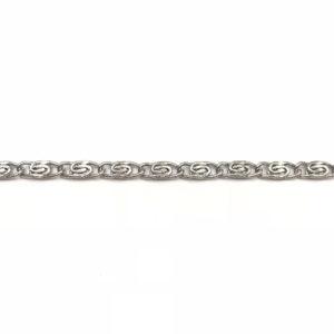 Catena groumette Silver intrecciata, spessore 12,5 x 12,5 mm - Venduta a metro - Crystal Stones