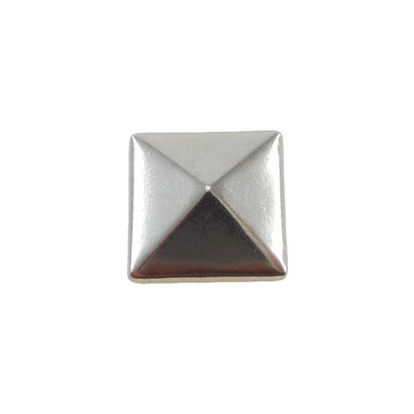 Borchia Piramidale Silver 10mm Termoadesiva Piatta – In metallo – C016-S – Crystal Stones