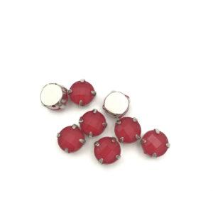 3001-10-6 2 Tondo incastonato acrilico Anti Silver-Opaque Red 10mm