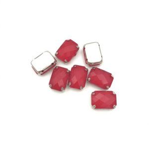 3006-1014-6 2 Ottagono incastonato acrilico Anti Silver-Opaque Red 10x14mm