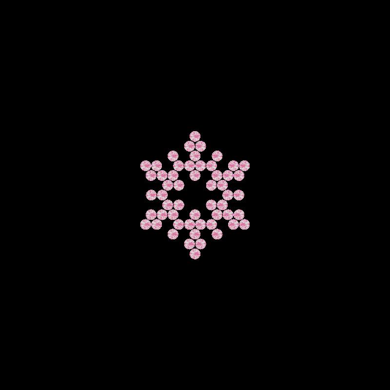 Motivo Fiocco di Neve Termoadesivo Hotfix FN11 – Vari colori – In Cristallo – Rose Opal 135 –  Xilion 2038 – Crystal Stones