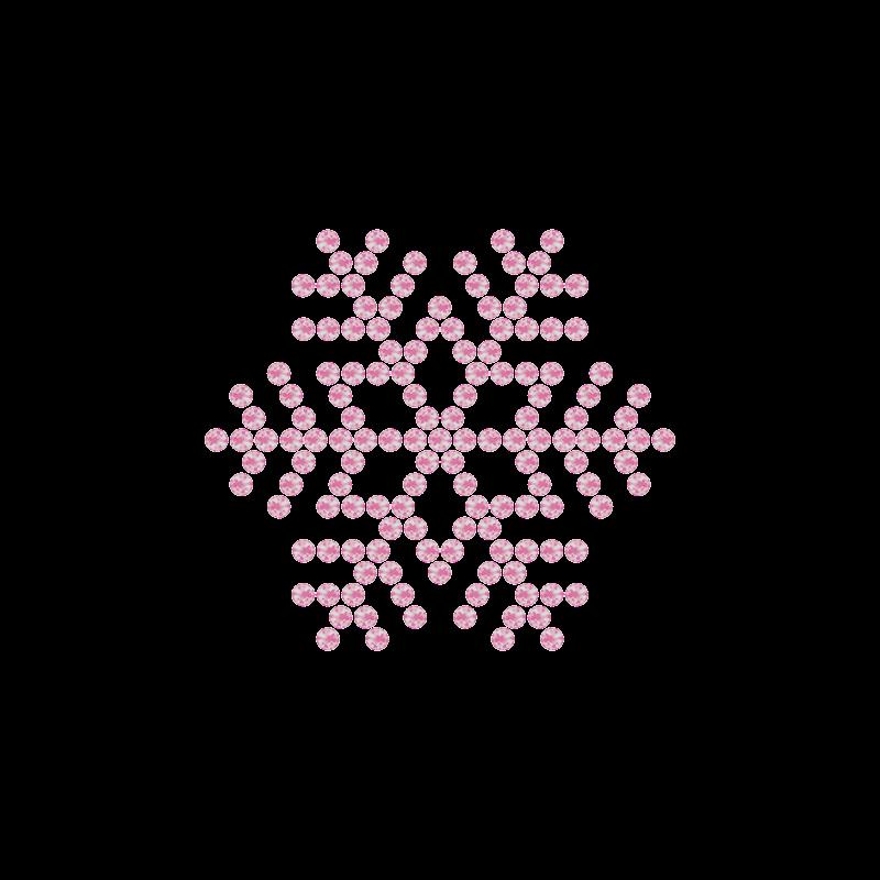 Motivo Fiocco di Neve Termoadesivo Hotfix FN09 – Vari colori – In Cristallo – Rose Opal 135 –  Xilion 2038 – Crystal Stones