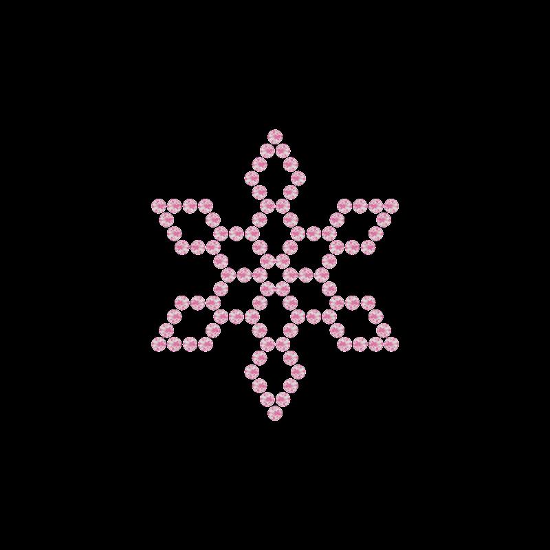 Motivo Fiocco di Neve Termoadesivo Hotfix FN10 – Vari colori – In Cristallo – Rose Opal 135 –  Xilion 2038 – Crystal Stones