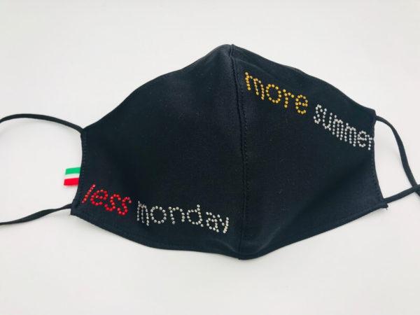 Mascherina Less Monday More Summer - Crystal Stones